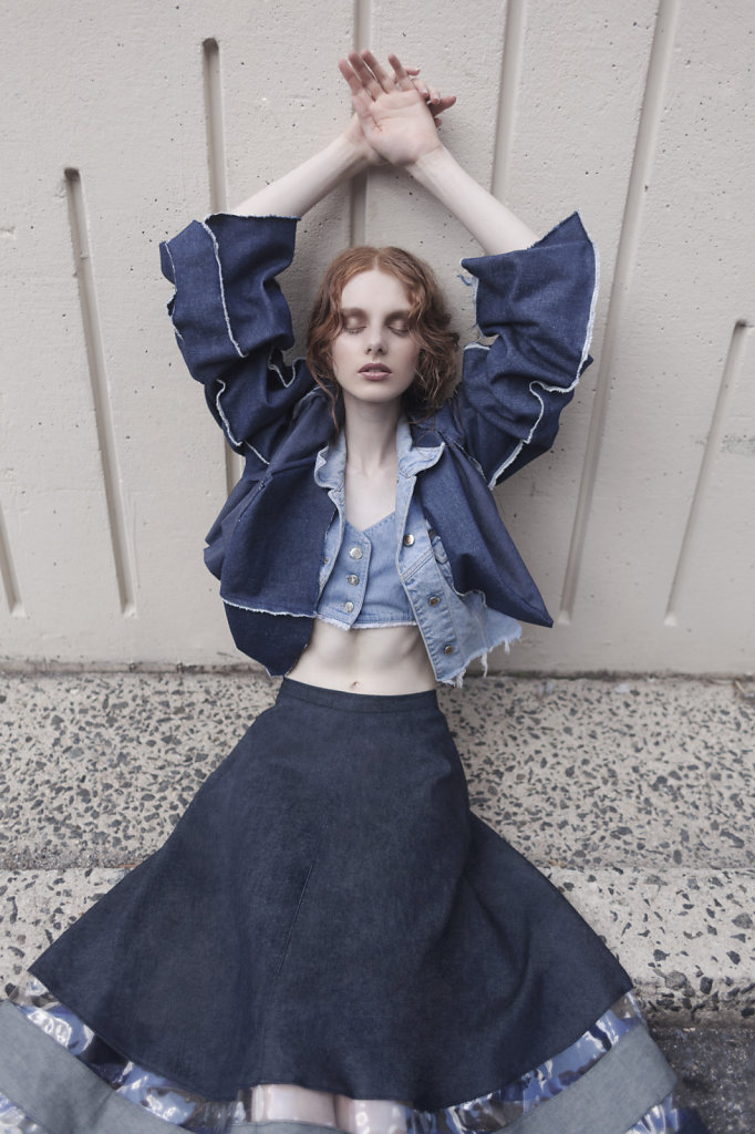 denim editorial featuring cat carney by sophie cecile xu for stardust magazine